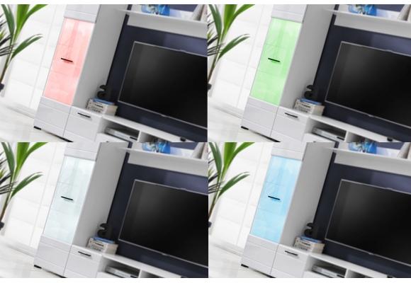 Meubles Switch laqué avec vitrines LED multicolore