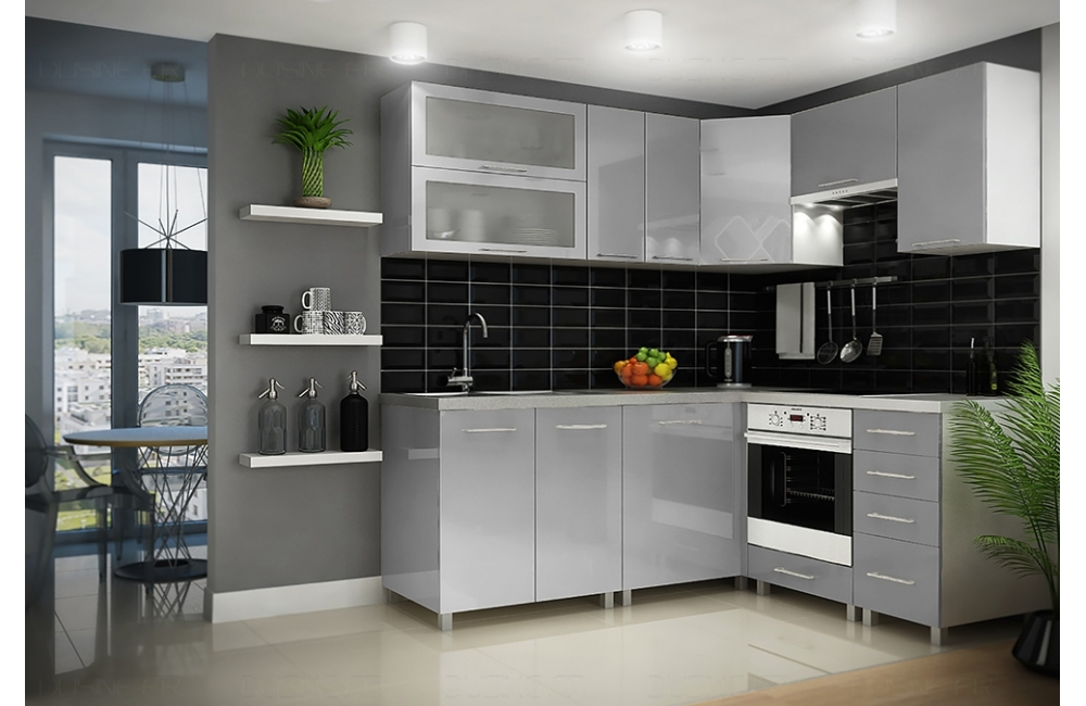 Cuisine Dusine Equipee Infinity Gris Pack 10 Angle Elements