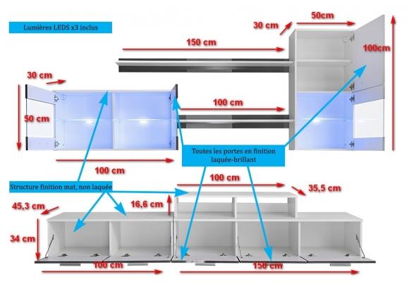 Meubles Salon HAZE laqué vitrines LED