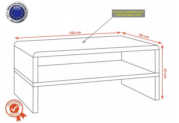 SIROCK TABLE BASSE LAQUÉ – 100 CM