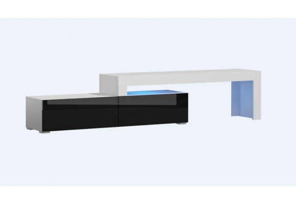 MEUBLE TV FLEX FACADES LAQUEES - EXTENSIBLE ANGLE MODULABLE 148 à 280 cm